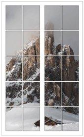 Pencere, Dağ, Kar, Manzara Duvar Sticker
