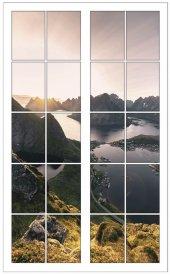 Pencere, Dağ, Gölet, Manzara Duvar Sticker