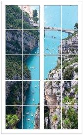 Pencere, Nehir, Koy Duvar Sticker