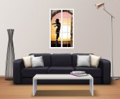 Pencere, Kız Silueti, Gün Batımı Duvar Sticker-2