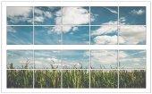 Pencere, Gökyüzü, Bulutlar, Buğday Tarlası, Duvar Sticker