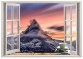 Pencere, Dağ Manzarası, Kahve, Kitap Duvar Sticker