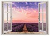 Pencere, Lavanta Bahçesi Duvar Sticker
