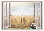 Pencere, Buğday Tarlası Duvar Sticker