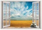 Pencere, Tarla, Gökyüzü Duvar Sticker