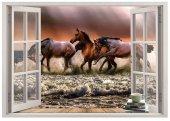 Pencere, Atlar, Deniz Duvar Sticker