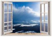 Pencere, Bulut, Kar, Orman Manzarası Duvar Sticker