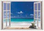 Pencere, Deniz, Sahil, Kumsal Duvar Sticker
