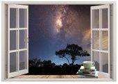 Pencere, Gece, Yıldızlar Duvar Sticker