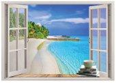 Pencere, Mavi Deniz, Sahil, Palmiye, Beyaz Kumsal Duvar Sticker