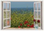 Pencere, Çiçekler, Deniz Manzarası Duvar Sticker