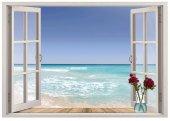 Pencere, Deniz Duvar Sticker