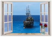 Pencere, Gemi, Deniz Duvar Sticker