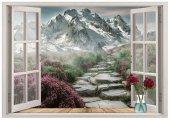 Pencere, Dağ Manzarası, Çiçekler Duvar Sticker