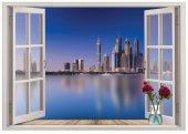 Pencere, Şehir Manzarası Duvar Sticker