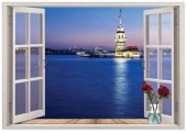 Pencere, Kız Kulesi, İstanbul Duvar Sticker