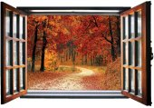Pencere, Ağaçlık, Orman, Sonbahar Duvar Sticker