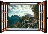 Pencere, Dağ Manzarası, Merdiven, Patika Duvar Sticker