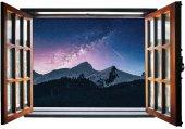 Pencere, Karlı Dağ, Yıldızlı Gökyüzü Duvar Sticker