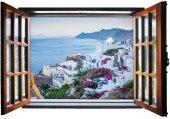 Pencere, Deniz Manzarası, Beyaz Evler, Tatil Duvar Sticker