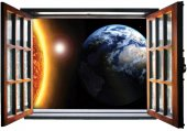 Pencere, Dünya, Güneş, Uzay Duvar Sticker