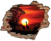 Kırık Tuğla, Gün Batımı , Zürafa Duvar Sticker