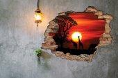 Kırık Tuğla, Gün Batımı , Zürafa Duvar Sticker-2