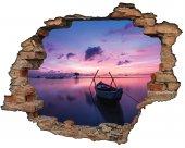 Kırık Tuğla, Kayık, Gün Batımı Duvar Sticker