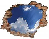 Kırık Tuğla, Bulutlar, Gökyüzü, Mavi Duvar Sticker