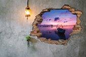 Kırık Tuğla, Kayık, Gün Batımı Duvar Sticker-2