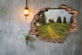 Kırık Tuğla, Ev, Doğa, Yeşil Duvar Sticker-2