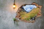 Kırık Tuğla, Dağ, Yayla, Manzara Duvar Sticker-2