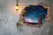 Kırık Tuğla, Kule, Kuyruklu Yıldız Duvar Sticker-2