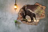 Kırık Tuğla, Fil Yavrusu Duvar Sticker-2