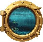 Gemi, Denizaltı, Pencere, Mercan, Balık Duvar Sticker