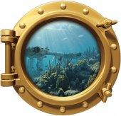 Gemi, Denizaltı, Pencere Duvar Sticker