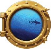 Gemi, Denizaltı, Pencere, Köpek Balığı Duvar Sticker