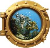 Gemi, Denizaltı, Pencere, Aslan Balığı, Mercanlar Duvar Sticker