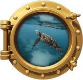 Gemi, Denizaltı, Pencere, Deniz Kaplumbağası Duvar Sticker
