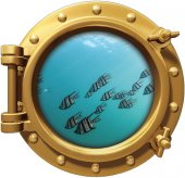 Gemi, Denizaltı, Pencere, Balık, Sualtı Duvar Sticker
