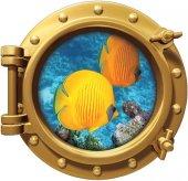 Gemi, Denizaltı, Pencere, Balık, Mercan, Resif Duvar Sticker