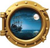 Gemi, Denizaltı, Pencere, Ay, Mehtap Duvar Sticker