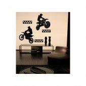 Motocross Kadife Duvar Sticker 136x144 Cm