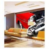 Kırmızı Chevrolet 1955 178x126 Cm Duvar Resmi