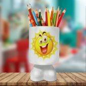 Gülümseyen Neşeli Güneş Baskılı Ayaklı Seramik Kalemlik 817824
