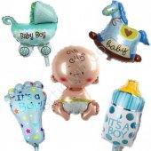 Baby Shower Mavi Folyo Balon 5li Seti