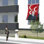 Alparslan Türkeş Ve 3 Hilal Kırmızı Sancak Bayrak Mhp 150x225cm