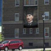 Sivil Kaplaklı Gazi Mustafa Kemal Atatürk Poster Cephe Bayrak