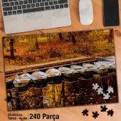 Asil Hobi Sararmış Yapraklar - Kayık - Göl Kenarı Yapboz - Ayak Destekli Çerçeveli 240 Parça Puzzle