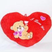 Kalp Yastık Gül Tutan Ayıcık Desenli Yastık 40 Cm...